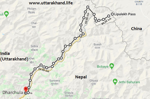 Representation of road constructed by the BRO from Dharchula to Lipulekh (Map not to scale)
