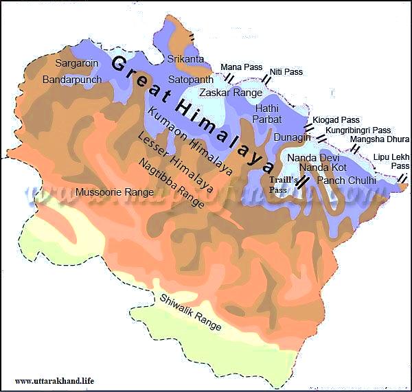 Passes from the state of Uttarakhand in the physical map of Uttarakhand